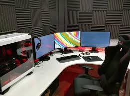 Ikea Corner Desks Black by White Gaming Computer Desk Setup Battle Station Corner L Shaped