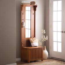 Amazon Wooden Entryway Tall Hall Tree Bench Coat And Hat Rack With Mirror In Oak Finish 2 Double Hooks Antique Bronze Storage Base