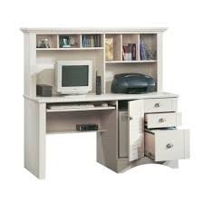 sauder harbor view antiqued white computer desk w hutch 158034