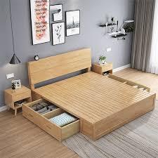 nordic japan stil schlafzimmer sets massivholz mit schublade lagerung box home möbel bett für hotel motel inn buy hartholz rahmen knock
