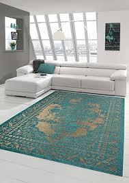 moderner teppich designer teppich orientteppich wohnzimmer teppich mit bordüre in türkis beige größe 80x150 cm