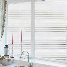EASEHOME Stripe Frosted Window Film Self Adhesive Glass Window