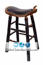 Amish Built Rustic Lodge Western Style Bar Stool With Leather Saddle Seat