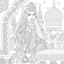 Coloriage De Femme Turque Décor De Filigrane Islamique Mosquée