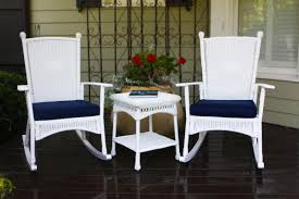 Portside Classic 3pc Rocking Chair Set - White Resin Wicker Porch Rockers Easy Care Rocker Charleston Rocking Chair Camel Back Chairs Set Of Two White Summer Outdoor Belwood With Floral Cushions 3pc Cushion And End Table Faux Book Pocket Coral Coast With Khaki The Portside Plantation All Weather Tortuga