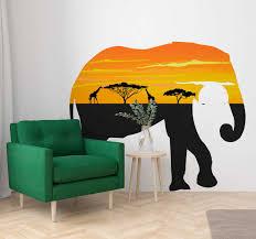 elefantenumriss landschaft afrika wandtattoo