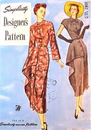 1940s DRAMATIC Dress Pattern SIMPLICITY 8062 Stunning Side Drape Panel Day Or Cocktail Party Evening Bust 32 Vintage Sewing