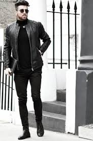 Man With Cool All Black Outfits Leather Jacket And Pants