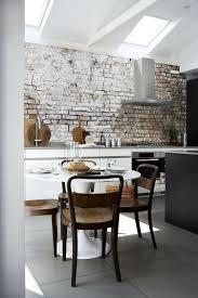 küchentapeten ideen stein ziegelwand optik backstein