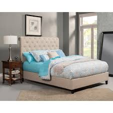 Alpine Furniture 1097Q Chloe Queen Tufted Upholstered Bed in Light