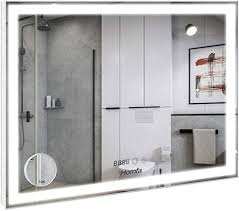 homfa led badezimmerspiegel 80x60cm badspiegel wandspiegel lichtspiegel spiegel mit beleuchtung 3 farbtemperatur dimmbare led berührung sensorschalter