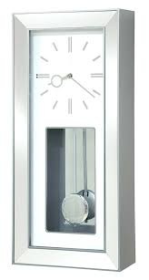 Modern Wall Clock Rectangular Chrome Chiming Pendulum Large White