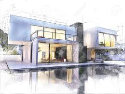 100 Modern Hiuse Sketch Of A Luxurious Modern House Surrounded By A Pool