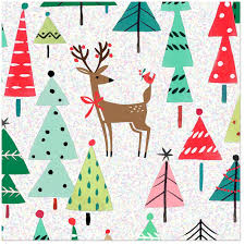 Reindeer And Trees Christmas Wrapping Paper Roll 45 Sq Ft