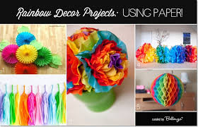 Diy Rainbow Party Decorations Made From Paper Pertaining To Craft Ideas For Birthday Decoration