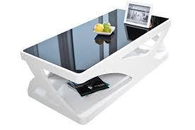 salesfever couchtisch schwarze glasplatte hochglanz lackiert mdf holz b 120 x t 60 x h 38 cm weiß schwarz