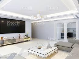 geräumige und helle moderne wohnzimmer design mit tv sofa und couchtisch sonnenlicht in den raum durch riesige glasfenster stockfoto und mehr bilder