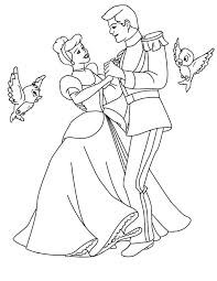 Cinderella Prince Charming And Dance Wiht Two Little Birds In Coloring Page