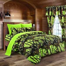 Hunting Camo Bathroom Decor by Regal Comfort 8pc Queen Size Woods Lime Green Camouflage Premium