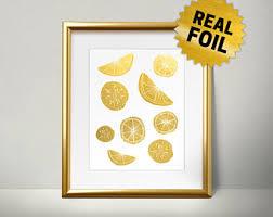 Lemon Kitchen Decor Wall Art Real Gold Foil Print