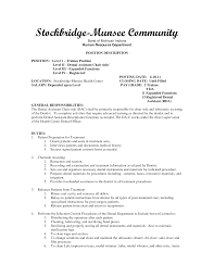 Front Desk Resume Cover Letter by Dental Assistant Resumes Examples Thebridgesummit Co