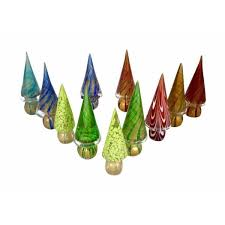 Formia 1980s Italian Vintage Colorful Murano Glass Christmas Trees Cosulich Interiors Antiques