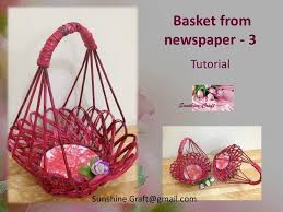 Diy Basket From Newspaper 3 Tutorial Youtube In Craft Work With Step By