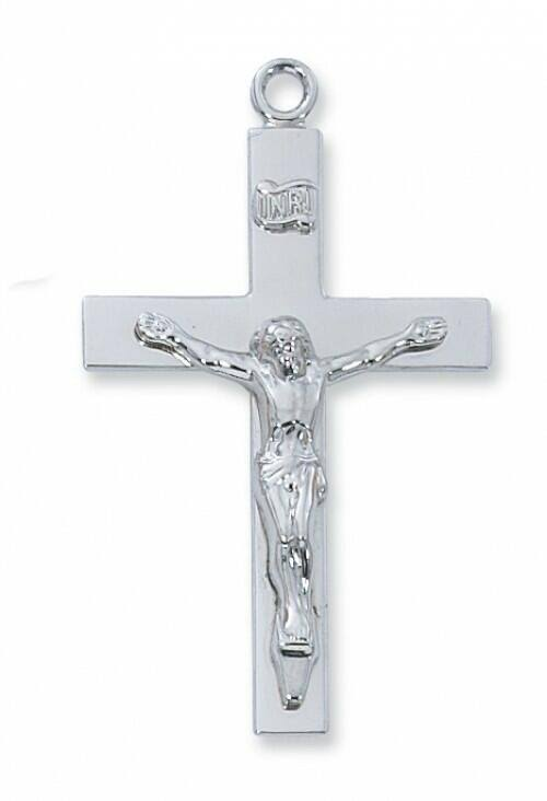 Sterling Silver Lords Prayer Crucifix, 24 inch Chain & Gift Box