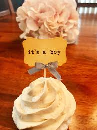Its A Boy Baby Shower Vintage Cupcake