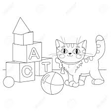 Coloring Page Outline Of Cartoon Cat Playing With Toys Book For Kids Stock Vector