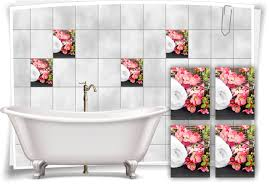 fliesen aufkleber fliesen bild blumen blüten handtuch spa wellness rosa weiss bad wc deko