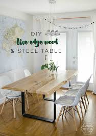 DIY Live Edge Table With Steel Base - Lemon Thistle Top 30 Great Expandable Kitchen Table Square Ding Chairs Unique Entzuckend Large Rustic Wood Tables Design And Depot Canterbury With 5 Bench Room Fniture Ashley Homestore Hcom Piece Counter Height And Set Rustic Wood Ding Table Set Momluvco Beautiful Abcdeleditioncom Home Inviting Ideas Nottingham Solid Black Round Dark W Custom