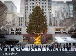 Christmas Tree Rockefeller Center 2016 by New York December 26 Rockefeller Center Stock Photo 125680823