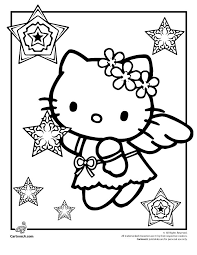 Hello Kitty Snow Angel Coloring Page