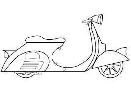Click To See Printable Version Of Piaggio Vespa Scooter Coloring Page