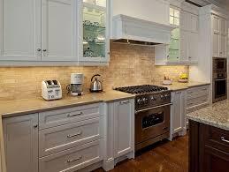 gray mosaic tile backsplash hardwood kitchen cabinets kitchen