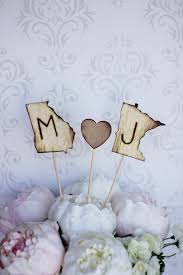 Personalized Cake Topper Engraved Wood States Rustic Wedding Item E10517