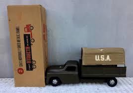 VINTAGE 1950's Structo Toy ARMY TRANSPORT TRUCK #412 W BOX NEVER ... Vintage 1950s Structo Cattle Farms Inc Toy Truck And Trailer 1950s Structo Toys Steel Army Truck Vintage Metal Toy Wrecker Truck Parts Toys Buddy L Tow 1940s Pinterest Very Early Vintage Pressed Dump 4900 Childrens Books Flash Cards Colctible Steel Diecast Cadillac No 7375 Hp Elrado Brougham Concept Lloyd Ralston Nice Yellow Truckgreen Trailer Yellow Steam Shovel Barrel Windup Red Blue C