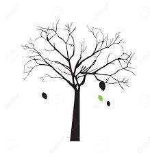 tree with falling leaves over white background vector illustration Stock Vector