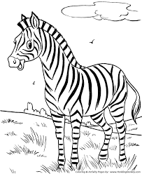 Wild Animal Coloring Pages Happy Little Zebra Page And City
