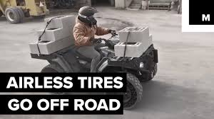 Off-road Vehicle With Airless Tires Is Incredibly Tough - YouTube Polaris Airless Tires To Go On Sale Next Month Video Used Japanese Truck Tyresradial Typeairless Tires For Dump The Rider Flat Suck And I Cant Wait For Those Tweeljpg 12800 Airless Tyres Pinterest Tired Cars Earth Youtube Bmw Rumored Adopt Michelins Spares Aoevolution Offroad Vehicle With Is Incredibly Tough Cool Military Invention Video Free Images Wheel Air Parking Profile Bumper Wheels Rim Delasso Solid Forklift Trucks Heavyduty Tire These Futuristic Car Never Go Wired Sumitomo Shows Off Toyota Finecomfort Ride
