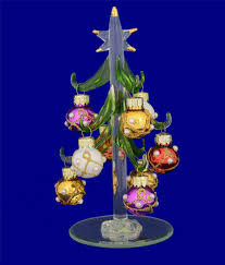 Mini Glass Christmas Tree With Multi Color Ornaments 6 By LSArts
