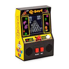 q bert mini arcade game 4 color screen thinkgeek
