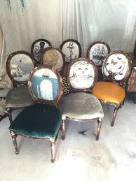 Custom listing deposit Eclectic set of dining chairs upholstered on