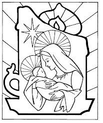 Mary Very Happy Taking Care Of Little Jesus Coloring For Kids