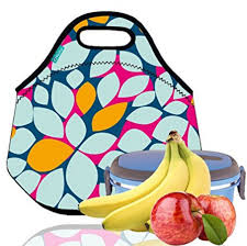 OFEILY Lunch Boxes Bags With Fine Neoprene Material Waterproof Picnic Bag Mom Leaf 999