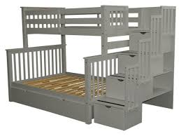Bunk Beds Twin over Full Stairway Gray 2 Drawers