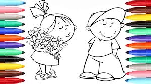 Funny Girl And Boy Coloring Pages L Kids Drawing Videos For To Learn Colors