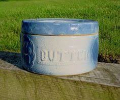 Antique Stoneware Butter Crock Blue