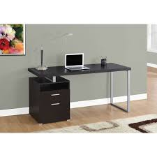 60 inch puter Desk with Cappuccino and Silver Metal Finish